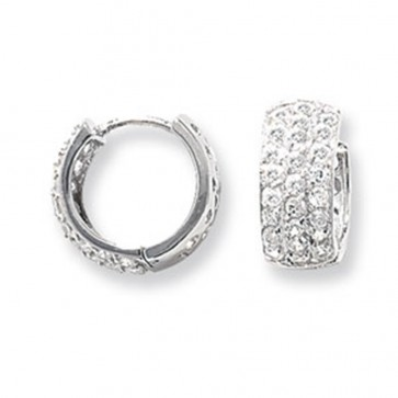Sterling Silver 15MM Triple Cubic Zirconia Hoop Earrings