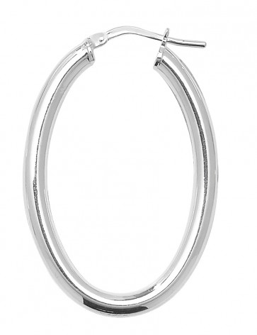 Sterling Silver 3MM Thick Oval Hoop Earrings