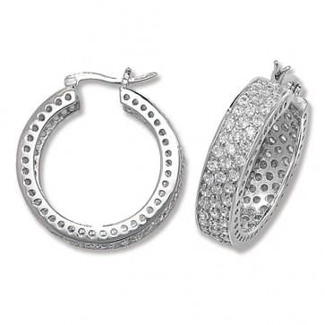 Sterling Silver 28MM Cubic Zirconia Hoop Earrings