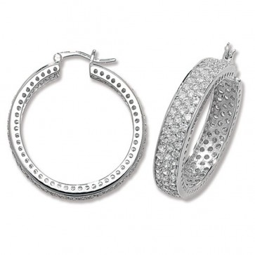 Sterling Silver 34MM Cubic Zirconia Hoop Earrings