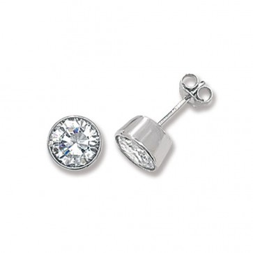 Sterling Silver 7MM Cubic Zirconia Round Rub Over Stud Earrings