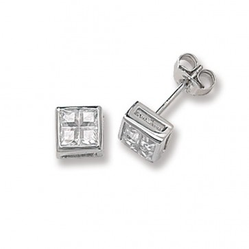 Sterling Silver 6MM Cubic Zirconia Square Stud Earrings