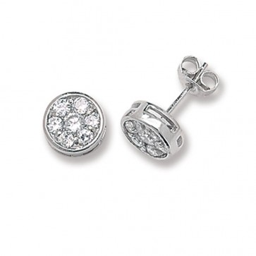 Sterling Silver 9MM Cubic Zirconia Round Stud Earrings