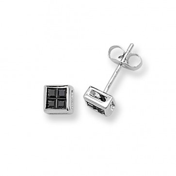 Sterling Silver 5MM Black Cubic Zirconia Square Stud Earrings