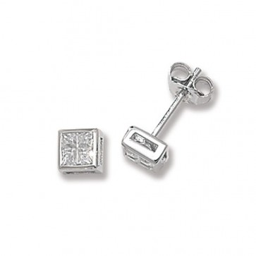 Sterling Silver 5MM Cubic Zirconia Square Stud Earrings