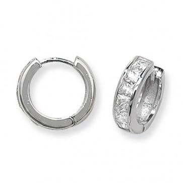 Sterling Silver 15MM Cubic Zirconia Hoop Earrings