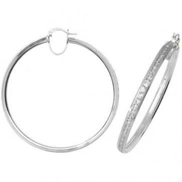 Sterling Silver 60MM Cubic Zirconia Hoop Earrings
