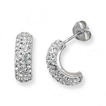 Sterling Silver Clear Crystal Stud Earrings