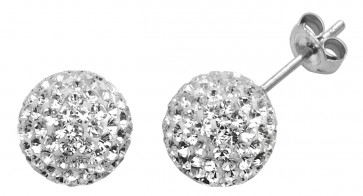 Sterling Silver 10MM Clear Crystal Stud Earrings