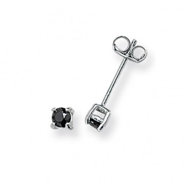 Sterling Silver 3MM Black Cubic Zirconia Round Stud Earrings