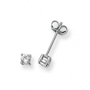 Sterling Silver 3MM Cubic Zirconia Round Stud Earrings