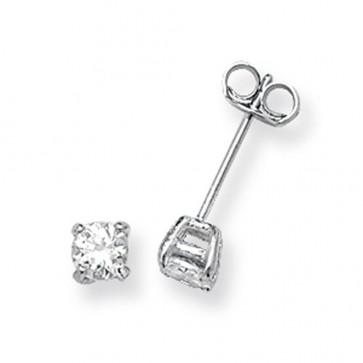Sterling Silver 4MM Cubic Zirconia Round Stud Earrings