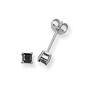 Sterling Silver 3MM Black Cubic Zirconia Square Stud Earrings