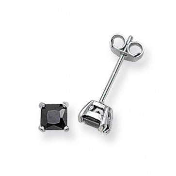 Sterling Silver 4MM Black Cubic Zirconia Square Stud Earrings