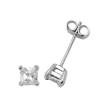 Sterling Silver 4MM Cubic Zirconia Square Stud Earrings