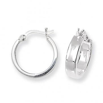 Sterling Silver 15MM Flat Hoop Earrings