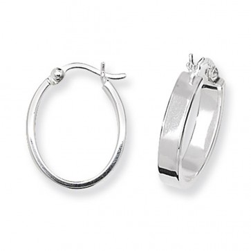 Sterling Silver Flat Oval Hoop Earrings