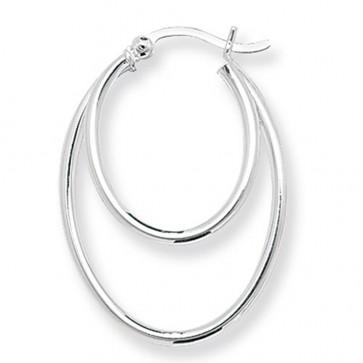 Sterling Silver Double Oval Hoop Earrings