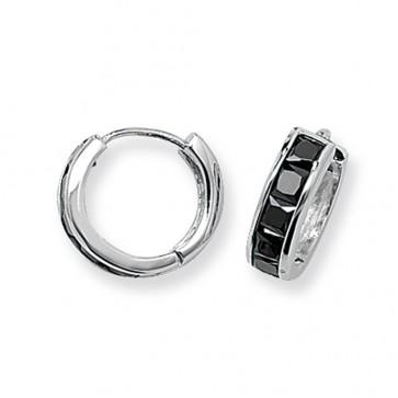 Sterling Silver 15MM Black Cubic Zirconia Hoop Earrings