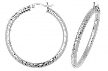 Sterling Silver 36MM Diamond Cut Hoop Earrings