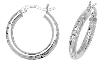 Sterling Silver 21MM Diamond Cut Hoop Earrings