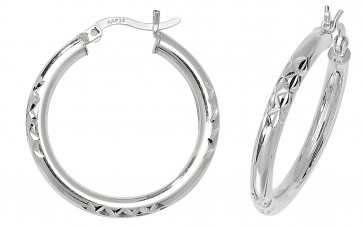 Sterling Silver 26MM Diamond Cut Hoop Earrings