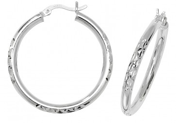 Sterling Silver 32MM Diamond Cut Hoop Earrings