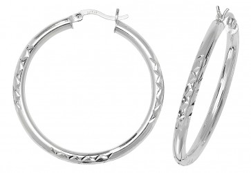 Sterling Silver 37MM Diamond Cut Hoop Earrings