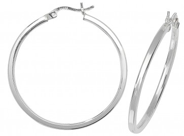 Sterling Silver 35MM Plain Square Tube Hoop Earrings