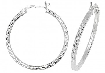 Sterling Silver 25MM Diamond Cut Square Tube Hoop Earrings