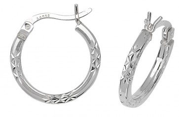 Sterling Silver 10MM Diamond Cut Square Tube Hoop Earrings