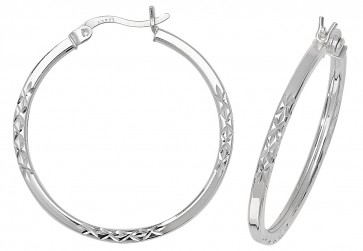 Sterling Silver 30MM Diamond Cut Square Tube Hoop Earrings