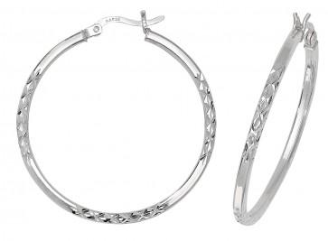 Sterling Silver 34MM Diamond Cut Square Tube Hoop Earrings