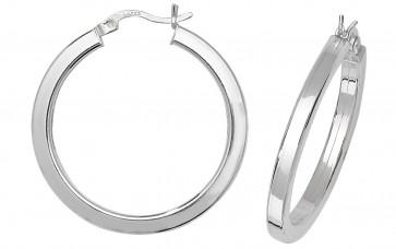 Sterling Silver 31MM Plain Square Tube Hoop Earrings