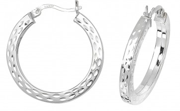Sterling Silver 26MM Diamond Cut Square Tube Hoop Earrings