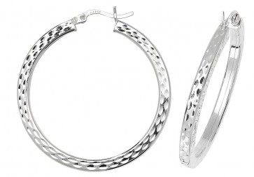 Sterling Silver 35MM Diamond Cut Square Tube Hoop Earrings
