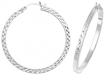 Sterling Silver 47MM Diamond Cut Square Tube Hoop Earrings