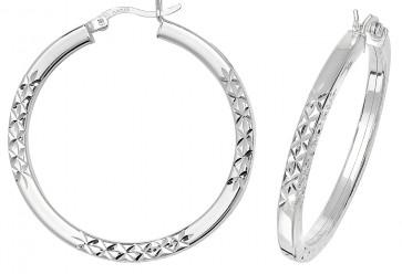 Sterling Silver 36MM Diamond Cut Square Tube Hoop Earrings