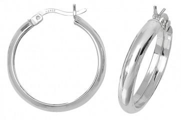 Sterling Silver 23MM Plain D-Shape Hoop Earrings
