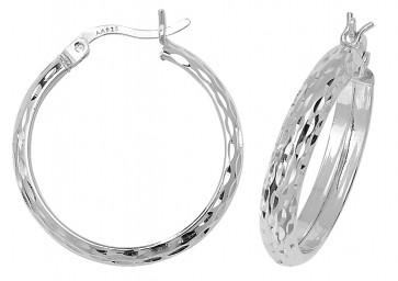 Sterling Silver 24MM Diamond Cut D-Shape Hoop Earrings