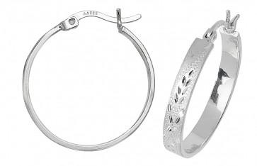 Sterling Silver 23MM Diamond Cut Flat Hoop Earrings