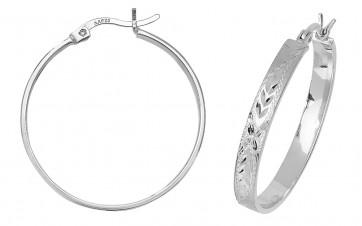 Sterling Silver 28MM Diamond Cut Flat Hoop Earrings