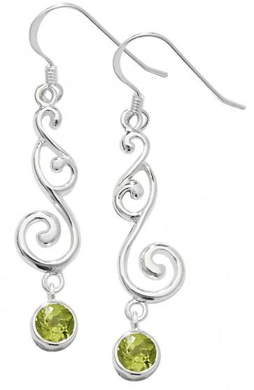 Sterling Silver Peridot Celtic Drop Earrings