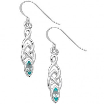 Sterling Silver Blue Topaz Celtic Drop Earrings