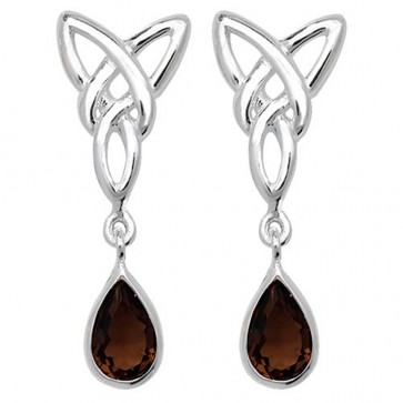 Sterling Silver Smoked Quartz Celtic Drop Earrings