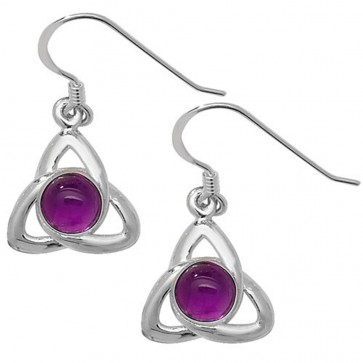 Sterling Silver Amethyst Cabochon Celtic Drop Earrings
