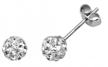 Sterling Silver 5MM Clear Crystal Stud Earrings