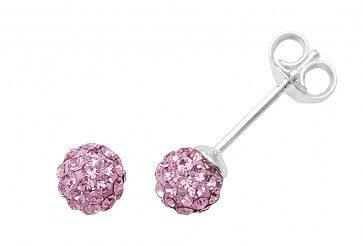 Sterling Silver 5MM Pink Crystal Stud Earrings