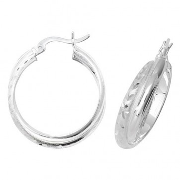 Sterling Silver 20MM Diamond Cut Hoop Earrings