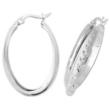 Sterling Silver Diamond Cut Oval Hoop Earrings